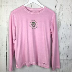 Life is Good Smile Pink Long Sleeve Shirt